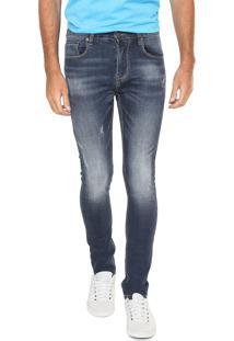 Calça Jeans Crocker Skinny Destroyed Azul