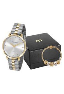 Kit De Relógio Feminino Mondaine Analógico + Pulseira - 53659Lpmvbe2K1 Dourado