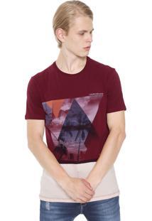 Camiseta Calvin Klein Jeans Recorte Vinho