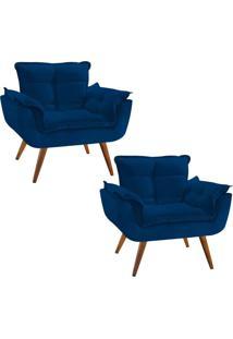 Kit 02 Poltronas Decorativa Opala Deluxe Suede Azul Marinho - Unico - Dafiti