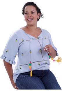 Blusa Celeste Francis Plus Size Vickttoria Vick Plus Size Azul
