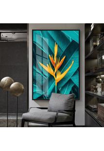 Quadro 150X100Cm Abstrato Tropical Folhas E Flores Vidro Cristal E Moldura Preta Decorativo Interiores - Oppen House