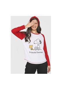 Blusa Snoopy By Fiveblu Raglan Bicolor Branca/Vinho