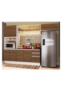 Cozinha Completa Madesa Acordes 100% Mdf Com Armário E Balcão + Tampo Branco/Rustic Cor:Branco/Rustic