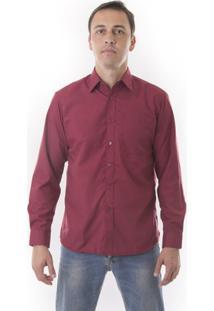 Camisa Social Vuzillo Manga Longa - Masculino-Vinho