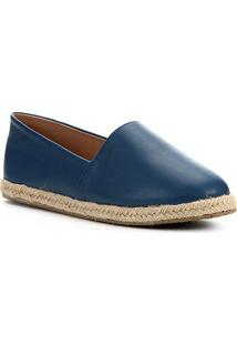 Sapatilha Shoestock Flat Corda Couro - Feminino-Azul