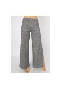 Calça Flare Pantalona Serra E Mar Modas Cintura Alta Com Fenda Cinza
