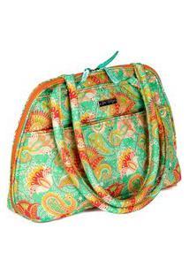 Bolsa Handbag Tecido Ombro Zíper Espaçosa Casual Verde