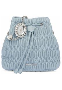 Miu Miu Bolsa Bucket Com Aplicações De Cristais - Azul