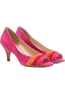 df6b46c0b2 ... Peep Toe Couro Shoestock Salto Fino Colors
