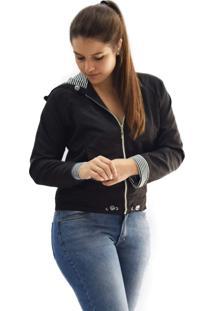 Jaqueta Tactel Microfibra Butu Biru Capuz Listra Preto