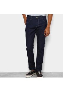 Calça Jeans Slim Coffee Com Elastano Masculina - Masculino-Azul