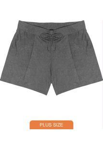 Shorts Plus Size Molecotton Cinza