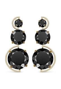 Brinco Ouro Amarelo Quartzo Negro E Diamantes Maior