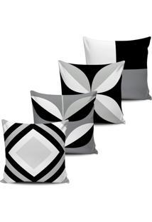 Kit 4 Capas Almofadas Abstrata Decorativa Black White 45X45