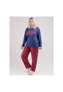 Pijama Longo Plus Size Feminino Azul Marinho/Bordô