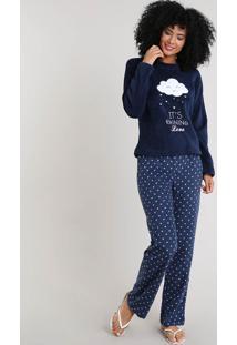 """Pijama Feminino Em Plush Estampado """"It'S Raining Love"""" Azul Marinho"""