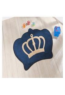 Tapete Formato Feltro Antiderrapante Coroa Azul Marinho