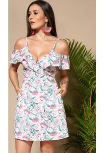 Vestido Floral Fundo Xadrez Com Babados E Bolsos