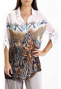 Camisa 101 Resort Wear Estampada Manga 3/4 Animal Marrom
