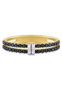 Anel Ouro Amarelo Diamantes E Diamantes Negros