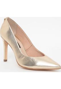 Scarpin Em Couro Metalizado- Dourado- Salto: 9,5Cmjorge Bischoff
