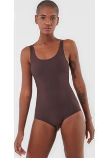 Body Calvin Klein Underwear Liso Marrom - Marrom - Feminino - Poliamida - Dafiti