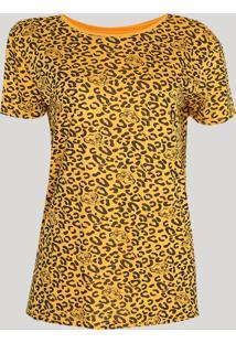 Blusa Feminina O Rei Leão Estampada Manga Curta Decote Redondo Amarela