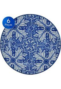Conjunto Pratos Sobremesa Azulejo 6 Peças - Schmidt - Branco / Azul