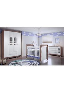 Dormitório Selena Guarda Roupa 4 Portas Comoda Gran Selena Berço Mirelle Branco/Amadeirado Carolina Baby - Tricae