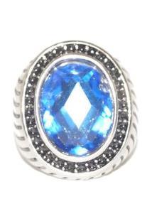 Anel Pedra Resinada Azul Em Inox- Sir.W