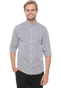Camisa Tommy Hilfiger Regular Fit Listrada Cinza