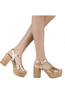 Sandália Zariff Shoes Meia Pata Salto Grosso Dourado