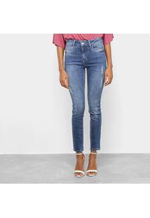 Calça Jeans Skinny Enna Estonada Puídos Ankle High Feminina - Feminino-Azul