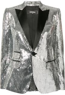 Dsquared2 Blazer Com Paetês - Prateado