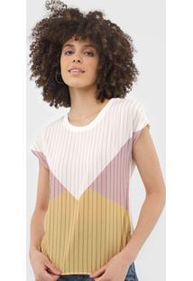 Blusa Cativa Geométrica Off-White/Rosa - Kanui