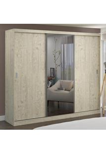 Guarda-Roupa Casal 3 Portas Com 1 Espelho 100% Mdf 7318E1 Marfim Areia - Foscarini