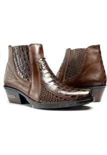 Bota Country Capelli Boots Jacaré Couro Cano Curto Masculina - Masculino-Café