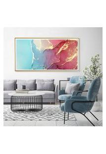 Quadro Com Moldura Chanfrada Abstrato Azul Com Rosa 60X130