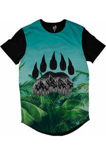 Camiseta Longline Long Beach Pegada De Urso Palmeira Sublimada Azul