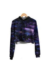 Blusa Cropped Moletom Feminina Galaxia Chuva Meteoros Md05