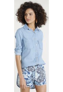 44cd6d669 ... Camisa Jeans Feminina Longa Com Bolsos Manga Longa Azul Claro