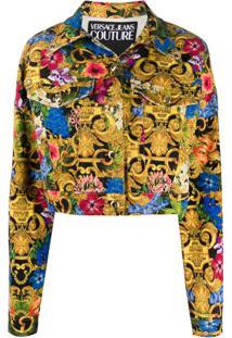 Versace Jeans Couture Tropical Baroque-Print Denim Jacket - Dourado