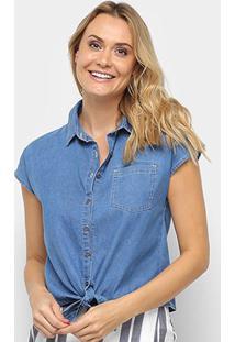 Camiseta Jeans Malwee Tradicional Amarração Feminina - Feminino-Azul Royal