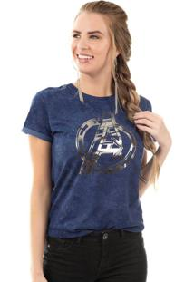 Blusa Com Estampa Com Fóil Azul Marvel