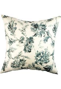Capa De Almofada Floral- Off White & Verde Escuro- 4Stm Home