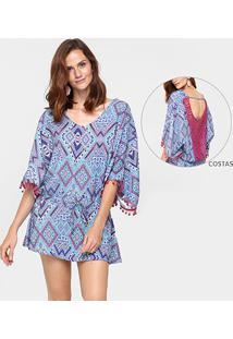 dd61373a5e ... Vestido 284 Renda Costas Amarração - Feminino-Rosa+Azul