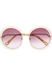 Chloé Eyewear Round Oversized Sunglasses - Dourado