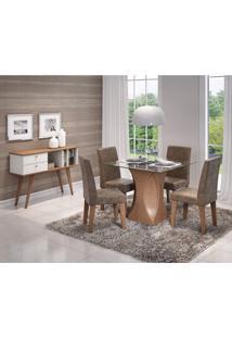 Conjunto Sala De Jantar Mesa Tampo Em Vidro Andreia 4 Cadeiras Milena Cimol Savana/Cacau