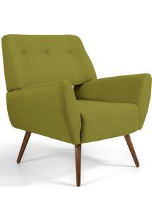 Poltrona Decorativa Fixa Pés Palito Melli Veludo Verde A-295 - Lyam Decor